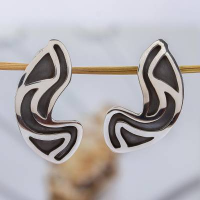 Sterling silver button earrings, 'Clouds' - Taxco Silver Button Earrings
