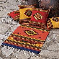Zapotec wool rug, 'August Sun' - Handmade Zapotec Wool Area Rug (2x3.5)