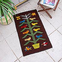 Zapotec wool rug, 'Milpa at Night' (2x3.5) - Zapotec Bird Rug (2x3.5)
