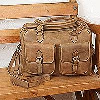 Leather travel bag, 'World Traveler' - Heavy Duty Leather Shoulder Laptop Bag from Mexico