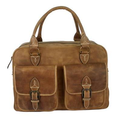 Leather travel bag, 'World Traveler' - Antiqued Leather Travel Bag from Mexico