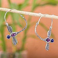 Amethyst and turquoise hoop earrings, 'Dragonfly' - Sterling Silver Amethyst and Natural Turquoise Earrings