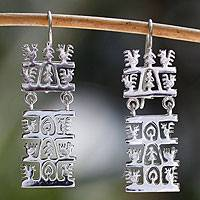 Sterling silver dangle earrings, 'Country Life' - Sterling Silver Tree of Life Earrings Mexico Folkways