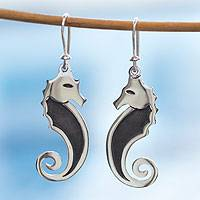 Sterling silver dangle earrings, 'Seahorse' - Seahorse Earrings in Sterling Silver