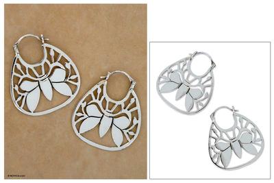 Sterling silver hoop earrings, 'Butterfly Dreams' - Sterling Silver Hoop Earrings from Mexico