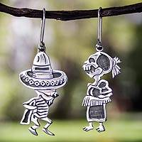 Sterling silver dangle earrings, 'Skeletal Hat Dance' - Fair Trade Taxco Silver Day of the Dead Earrings