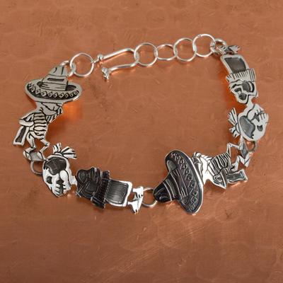 Sterling silver link bracelet, 'Skeletal Hat Dance' - Mexican Day of the Dead Sterling Silver Link Bracelet