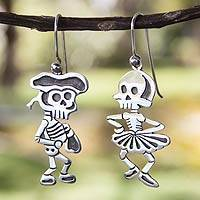 Sterling silver dangle earrings, 'Skeletal Matador Dance'