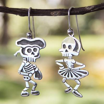 Sterling silver dangle earrings, 'Skeletal Matador Dance' - Taxco Silver Skeleton Earrings