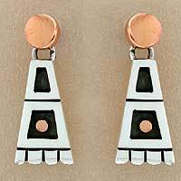 Sterling silver dangle earrings, 'Aztec Domino' - Collectible Taxco Silver Copper Dangle Earrings from Mexico