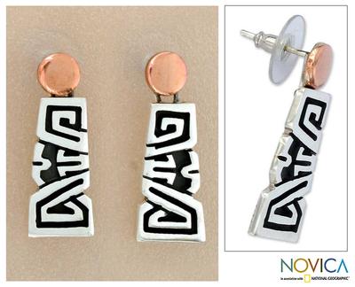 Sterling silver dangle earrings, 'Solar Frieze' - Sterling silver dangle earrings
