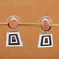 Sterling silver dangle earrings, 'Mystic Frieze' - Unique Taxco Silver and Copper Aztec Design Earrings