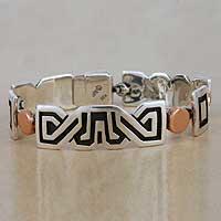 Sterling silver link bracelet, 'Solar Frieze'
