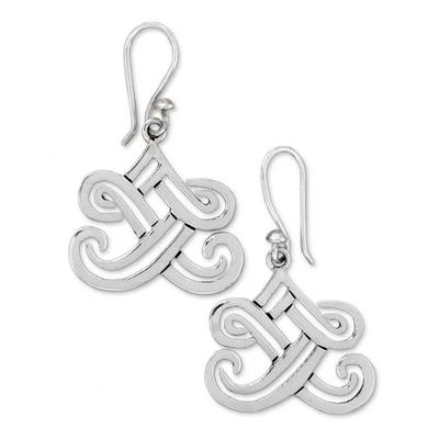 Sterling silver dangle earrings, 'Illusions' - Fair Trade Taxco Sterling Dangle Earrings