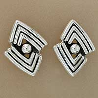 Sterling silver button earrings, 'Aztec Victory' - Handcrafted Taxco Silver Button Earrings