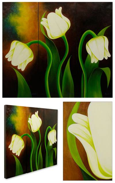 'White Tulips' (triptych) - Unique Floral Realist Painting (Triptych)