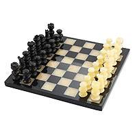 Onyx and marble chess set, 'Victory' - Fair Trade Beige and Black Marble Chess Set Game