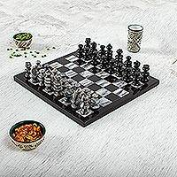 Marble chess set, 'Sophisticate' - Hand Carved Marble Chess Set