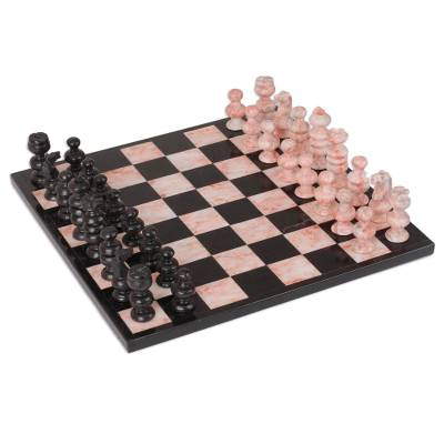 Marble chess set, 'Glorious Battle' (large) - Handcrafted Marble Chess Set (Large)