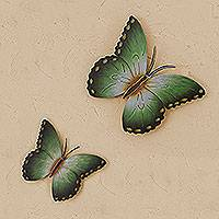 Steel wall art, 'Bamboo Butterflies' (pair) - Steel wall art (Pair)