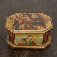 Decoupage jewelry box, 'Archangels' - Decoupage Wood Jewelry Box with Angels