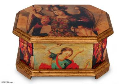 Decoupage jewelry box, 'Archangels' - Decoupage Wood jewellery Box with Angels