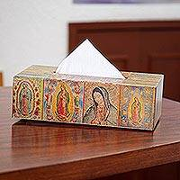 Decoupage tissue box, 'My Guadalupe' - Christianity Wood Bathroom and Vanity Tissue Box