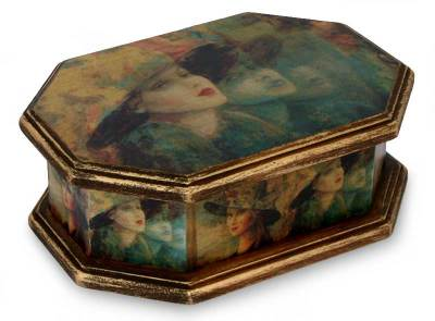 Decoupage jewelry box, 'Fashionista' - Handmade Vintage Decoupage Wood Jewelry Box