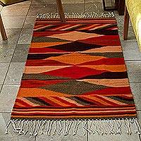 Zapotec wool rug, 'Earth Seasons' (2.5x5) - Zapotec wool rug (2.5x5)