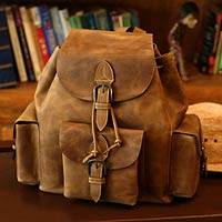 Leather backpack, 'Weathered in Honey Brown' - Leather Backpack with Buckled Flaps from Mexico