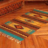 Zapotec wool rug, 'Summer Sky' (2.5x5)