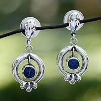 Lapis lazuli flower earrings, 'Mexican Blossom' - Lapis lazuli flower earrings
