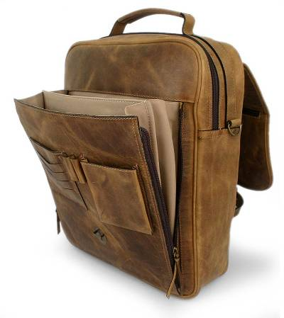 Leather messenger bag, 'Free Spirit' - Leather messenger bag