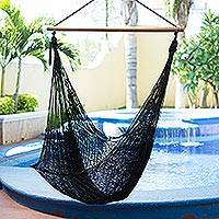Hammock swing, 'Caribbean Nights' - Black Nylon Hammock Swing Chair Handmade in Mexico
