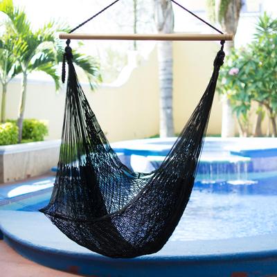 Hammock Swing, U0027Caribbean Nightsu0027   Black Nylon Hammock Swing Chair  Handmade In Mexico
