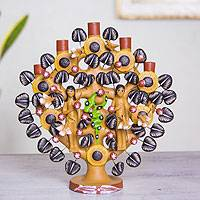 Ceramic tree of life sculpture, 'Adam and Eve' - Mexican Folk Art Hand Crafted Religious Ceramic Sculpture