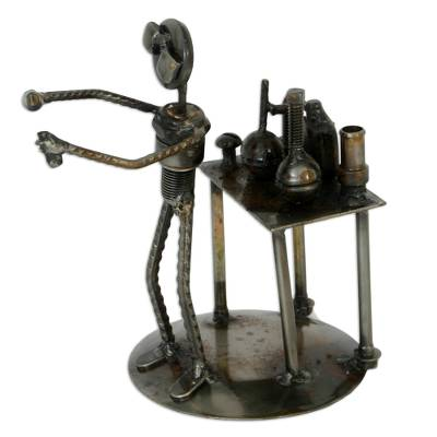 Recycled metal sculpture, 'Rustic Scientist' - Collectible Recycled Metal Sculpture Handmade in Mexico
