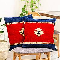Zapotec wool cushion covers, 'Starlight' (pair) - Star Motif Pillow Covers