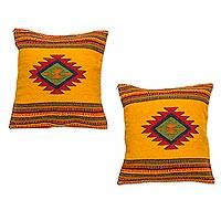 Zapotec wool cushion covers, 'Morning Star' (pair) - Unique Mexican Geometric Wool Cushion Covers (Pair)