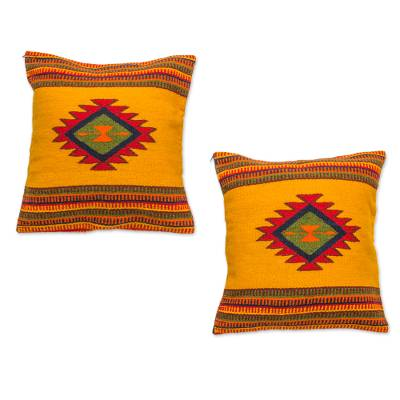 Zapotec wool cushion covers, 'Morning Star' (pair) - Unique Mexican Geometric Wool Cushion Covers (Pair)