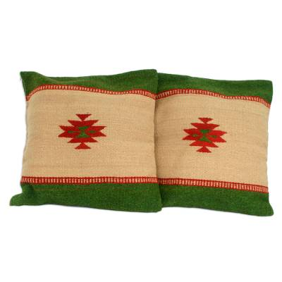 Zapotec wool cushion covers, 'Sierra' (pair) - Handwoven Wool Green and Beige Cushion Covers (Pair)