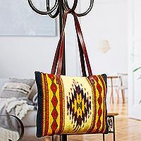 Zapotec wool tote bag, 'Sun of Life' - Zapotec wool tote bag