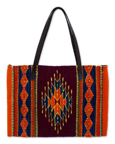 Zapotec wool tote bag, 'Sun of Hope' - Handcrafted Wool Leather Accent Tote from Mexico