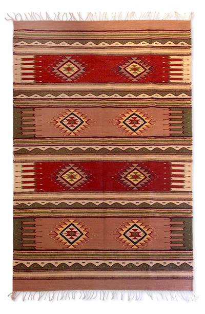 Zapotec wool rug, 'Mountain Sun' (4x6.5) - Zapotec wool rug (4x6.5)