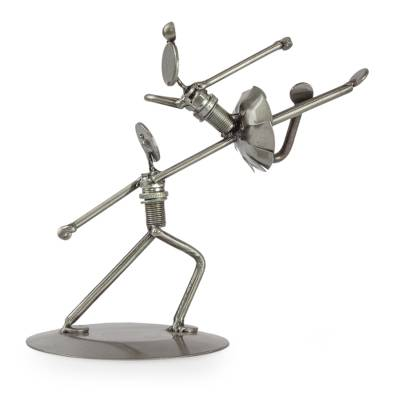 Heavenly Dancers NOVICA Metallic Recycled Metal Auto Parts Statuette 7.5 Tall