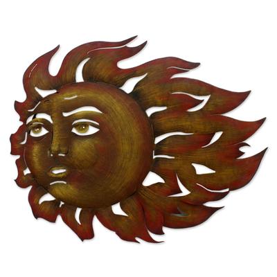 Steel wall art, 'The Sun's Song' - Fair Trade Steel Wall Art Sculpture