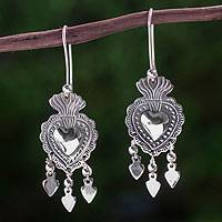 Sterling silver chandelier earrings, 'Gypsy Heart' - Unique Antique Style Taxco Silver Chandelier Earrings