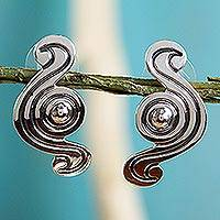 Sterling silver button earrings, 'Sensuous' - Handmade Taxco Silver Modern Mexican Earrings