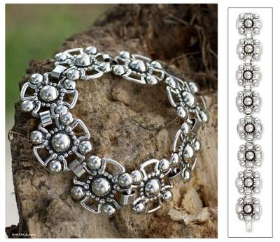 Sterling silver link bracelet, 'Cross' - Sterling silver link bracelet