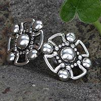Sterling silver button earrings, 'Cross' - Fair Trade Women's No Stone Taxco Silver Earrings